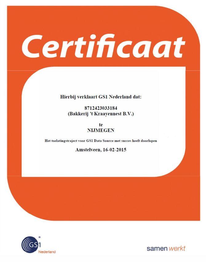 GS1 Data Source certificaat